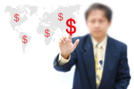 an idea for make money with business hand and dollar sign. photo