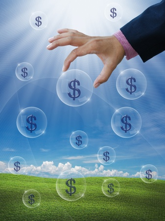 make an investment: an idea for make money with business hand and dollar sign.