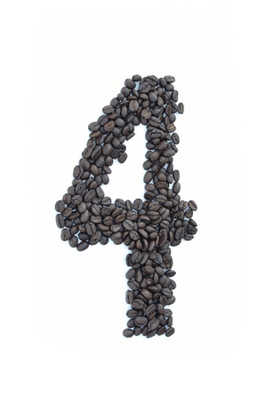 stimulant: all number made from coffee seed on white background. Stock Photo