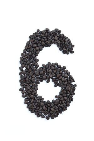 all number made from coffee seed on white background. Stock Photo - 10480323