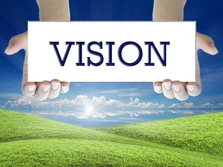 human vision: the business word on the attractive background.