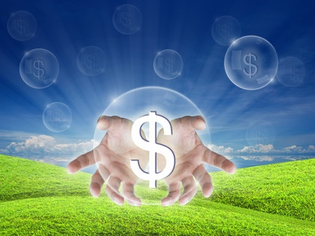 ble: artwork for idea get money on nature background.