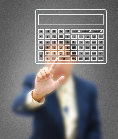 one to one meeting: The symbol of financial work by model with modern calculator. Stock Photo