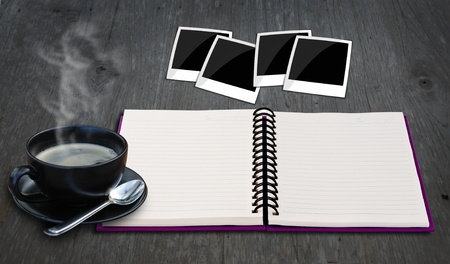relax idea with blank notepad on wood background. Stock Photo - 10587062