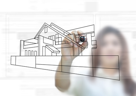 house planning project idea on white background. photo