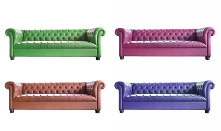 set of  vintage style sofas isolated on white background. photo