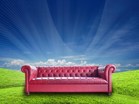 single vintage style sofa on nature background. Stock Photo - 10681043