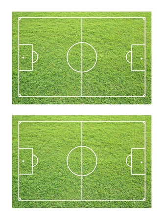 two soccer field from grass texture. photo