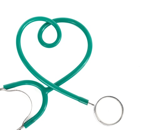 heart sounds: Heart shaoe stethoscope on white background.