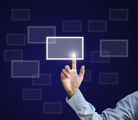 artwork from business hand pointing virtual screen. Stock Photo - 10751201