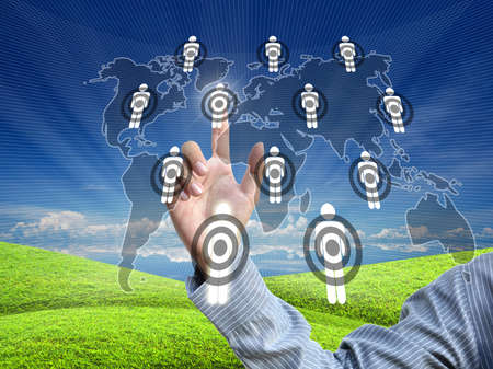 artwork from business hand pointing virtual screen. Stock Photo - 10751224