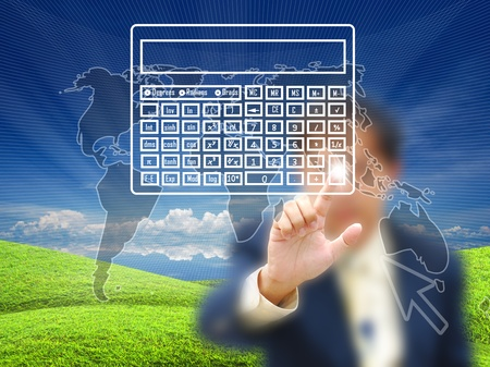 planing: Businessman touching virtual screen on nature background.