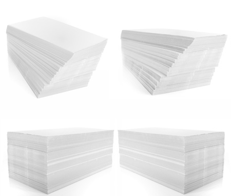 set of stack of white paper on white background. photo