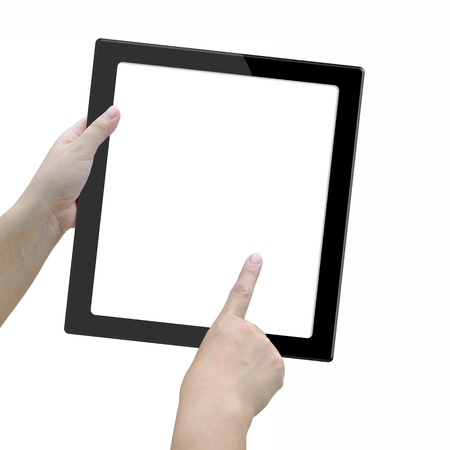 tablet computer with lady hand on white background. photo