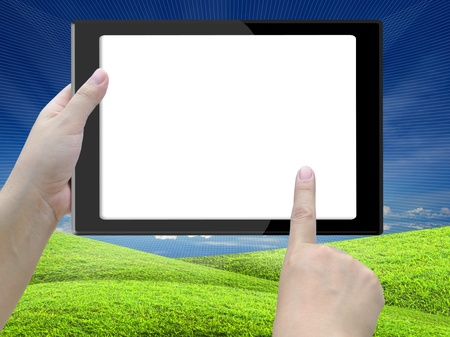 communication tools: tablet computer with lady hand on nature background.