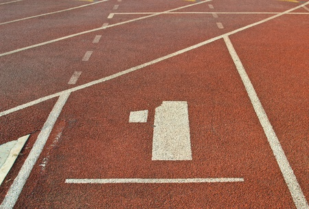 Running track number at sport stadium. photo