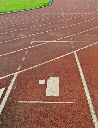 Running track number at sport stadium. photo