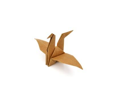 japanese symbol: Isolated one brown bird paper craft on white background. Stock Photo
