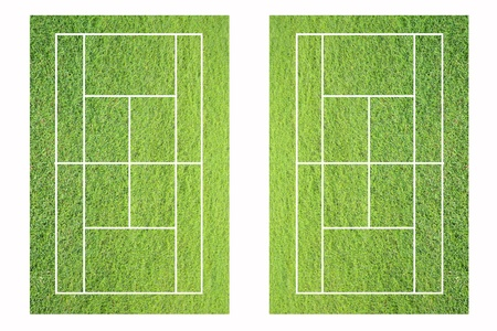 judge players: grass tennis court on white background.