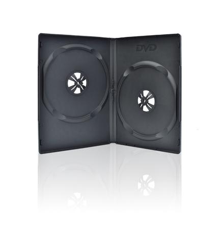rewrite: Blank dvd box with reflex on white background.