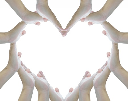 forming: heart sign from woman hands on white background.