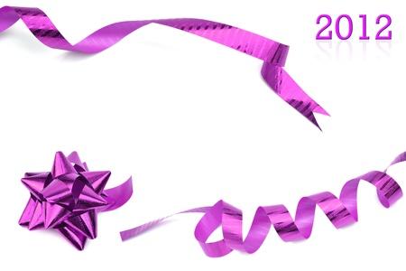 Purple ribbon set isolated on white background.