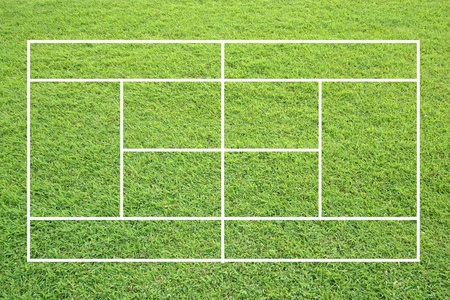 double game: grass tennis court on white background.