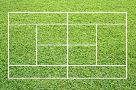 lawn tennis: grass tennis court on white background.