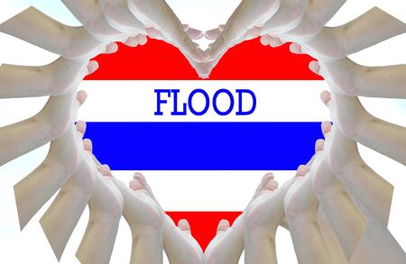 thailand flood: Artwrok for idea flood in Thailand. Stock Photo