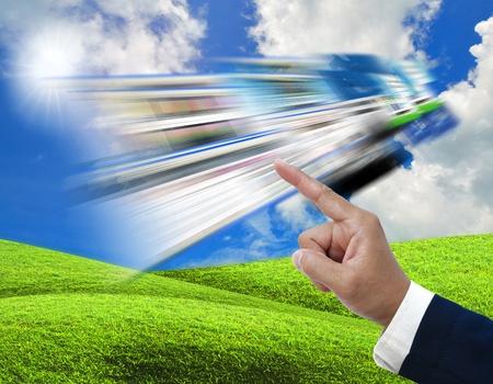 artwork of communication idea on nature background. photo