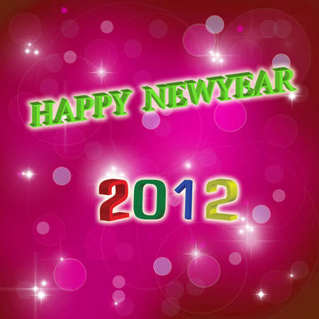 happy newyear: artwork of happy newyear 2012 on abstract background. Stock Photo