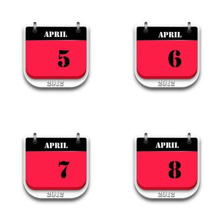 Set of two tone 2012 calendar on white background. photo