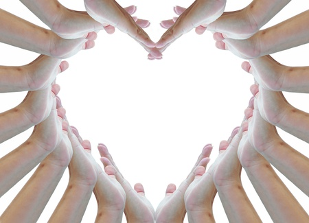 heart sign made from woman hands. photo
