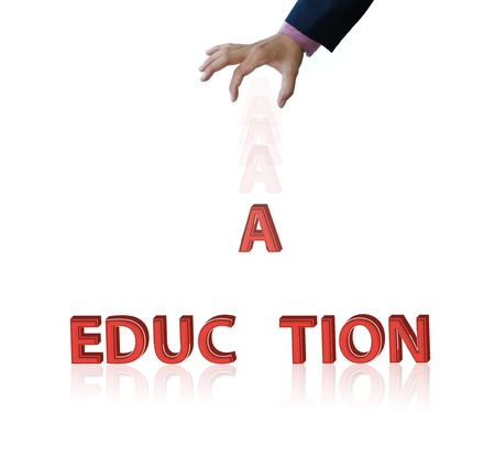 artwork of education word by drop an A letter on white background. Stock Photo - 11413146