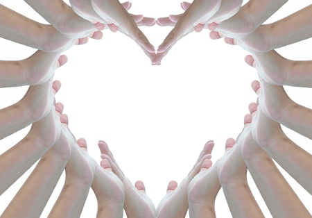 forming: heart shape from woman hands on white background.