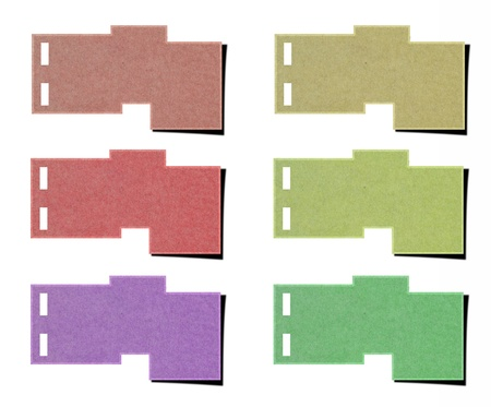 set of tag paper from recycled paper on white background. photo