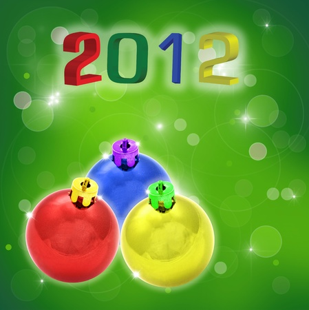 celebration color ball on green abstract background. Stock Photo - 11445648