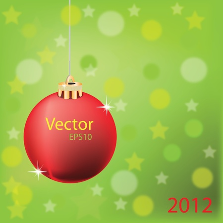 Vector of red greating ball on abstract green background. Vector