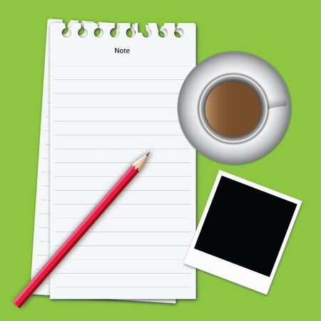 Vector of note paper on green color background. Vector