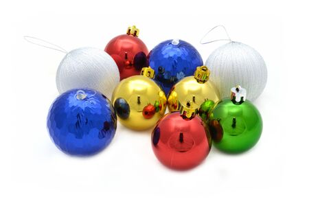 Color decoration balls on white background. photo