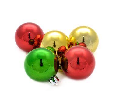 Color decoration balls on white background. photo