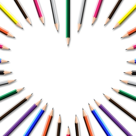color pencil frame in heart shape on white background. photo