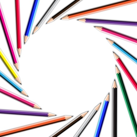 synergy: color pencil frame in round shape on white background.