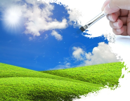 artwork of drawing nature with paint brush. Stock Photo