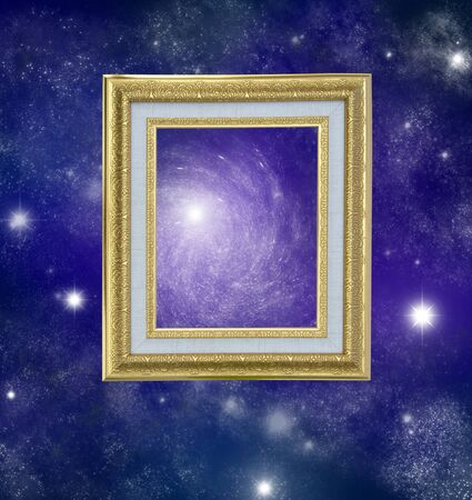single blank frame over galaxy background. photo