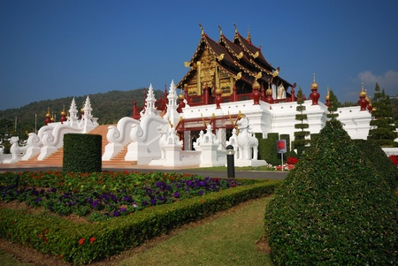 Famous building thai northern style in roral flora festival.