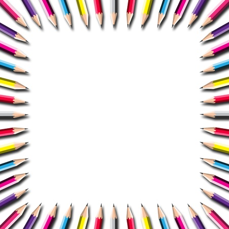 attractive pencil frame on white background. photo