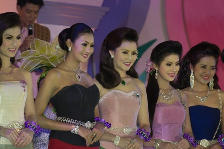 CHIANGRAI, THAILAND - DECEMBER 25: Competitors during the miss chiangrai contest 2011 at Chiangrai province on December 25, 2011 in Chiangrai, Thailand.