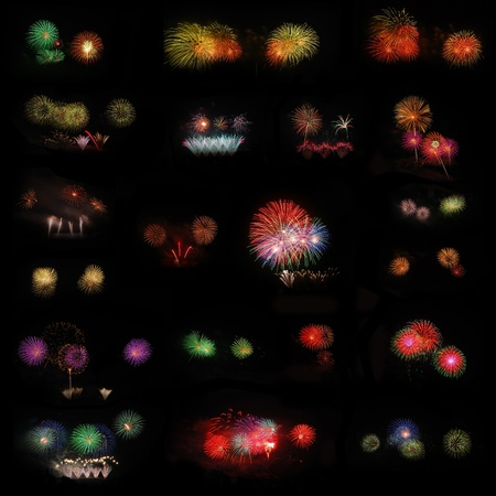 Large set of fireworks on black background. photo