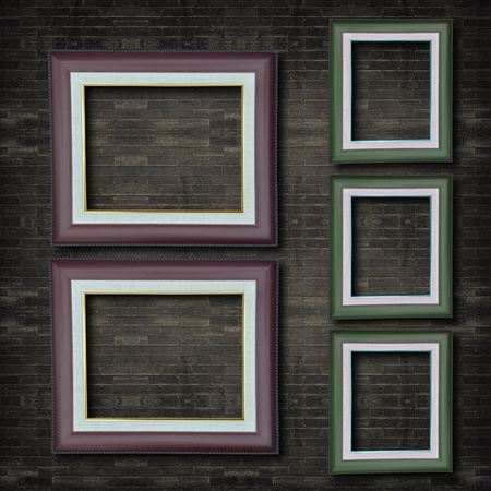 Photo frame on old brick wall. Stock Photo